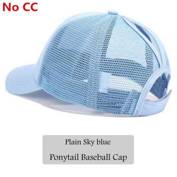 c36888889 2018 CC Glitter Ponytail Baseball Cap Women Snapback Hat Summer Messy Bun  Mesh Hats Casual Adjustable Sport Caps
