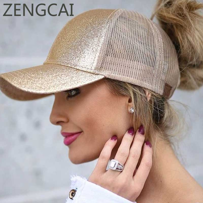 045efe88cfb ... 2018 CC Glitter Ponytail Baseball Cap Women Snapback Hat Summer Messy  Bun Mesh Hats Casual Adjustable Sport Caps. 🔍. Previous  Next